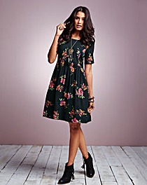 Floral Short-Sleeve Babydoll Dress