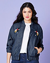 Simply Be Embroidered Bomber Jacket