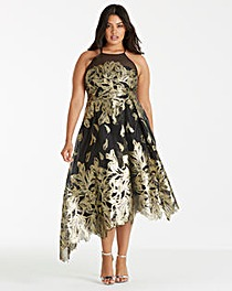 Coast Gold Leaf Jacquard Dress