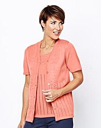 Pointelle Short-Sleeve Cardigan