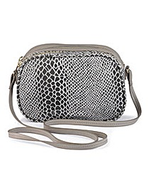 Double Zip Snake Cross Body Bag