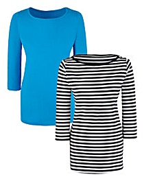 Pack Of 2 Boat Neck Jersey Top