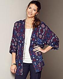 Print Jersey Kimono With Diamante Trim