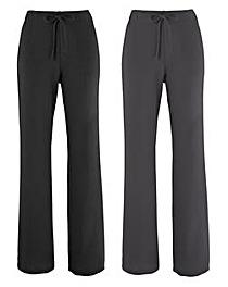 Pack 2 Straight Leg Trousers - Short