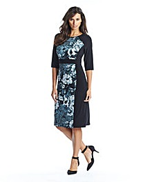 Floral Panel Illusion Dress And Necklace