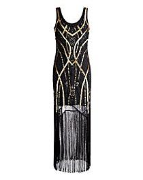 Joanna Hope Sequin Fringe Maxi Dress