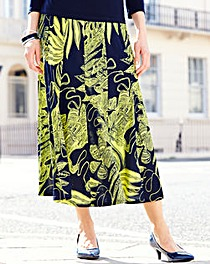 Nightingales Print Panelled Skirt L32in