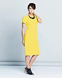 Plain Crepe Short-Sleeve Shift Dress