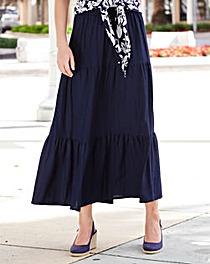 Linen Mix Tiered Skirt