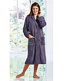 Fluffy Button Fleece Gown 42inch
