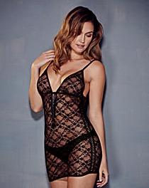 Sasha Tassel Tie Lace Black Dress