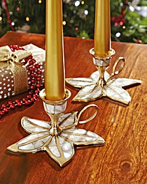 Poinsettia Candle Holder Set of 2