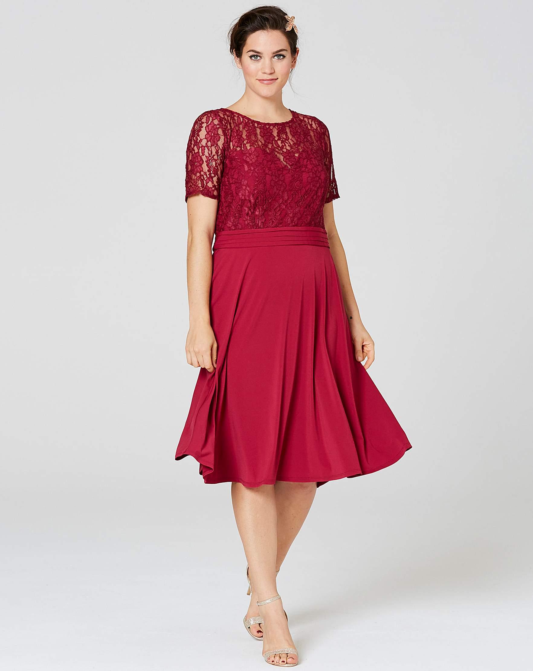 Red and black floral jacquard skater dress