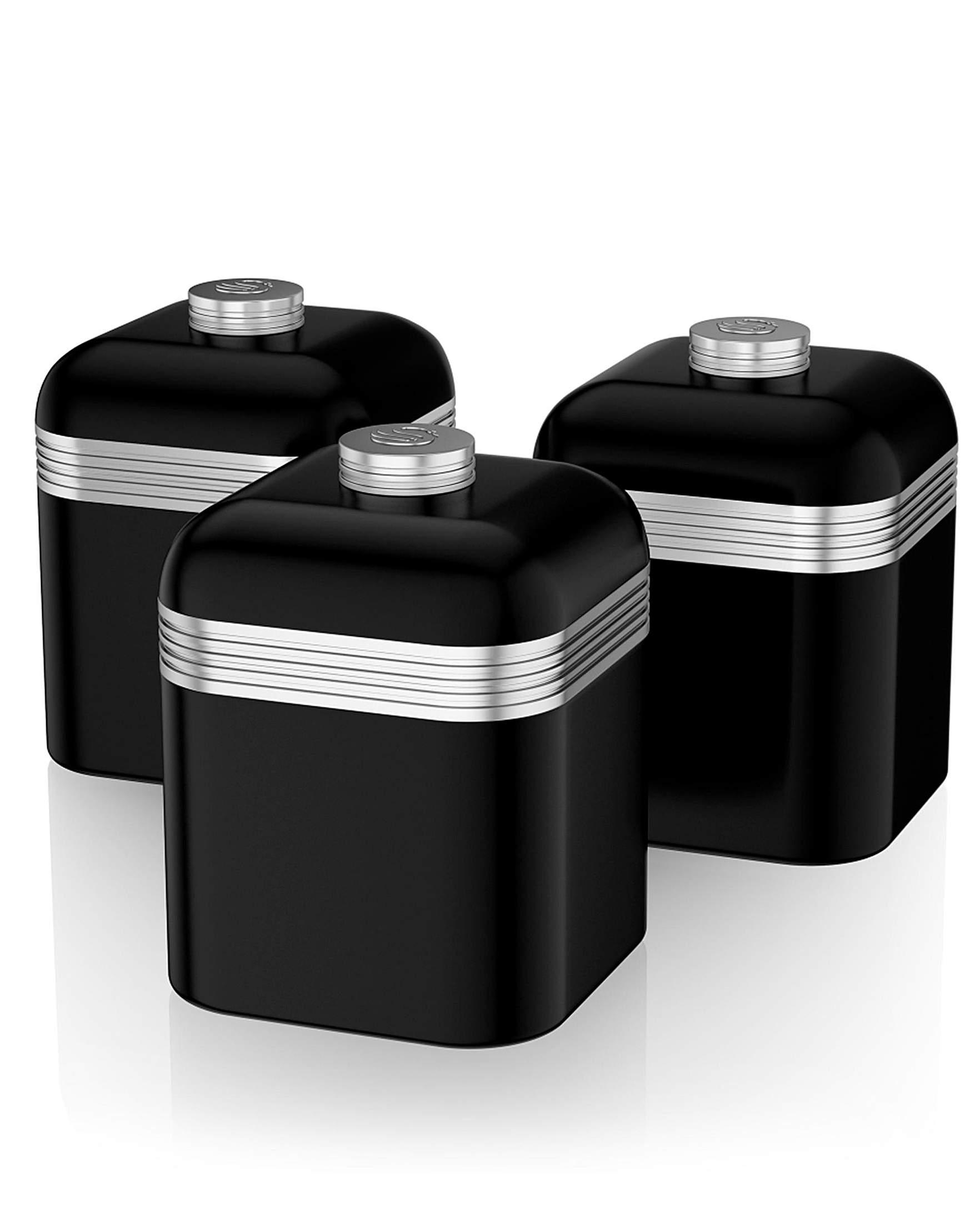 swan retro set of 3 canisters black j d williams designer kitchen