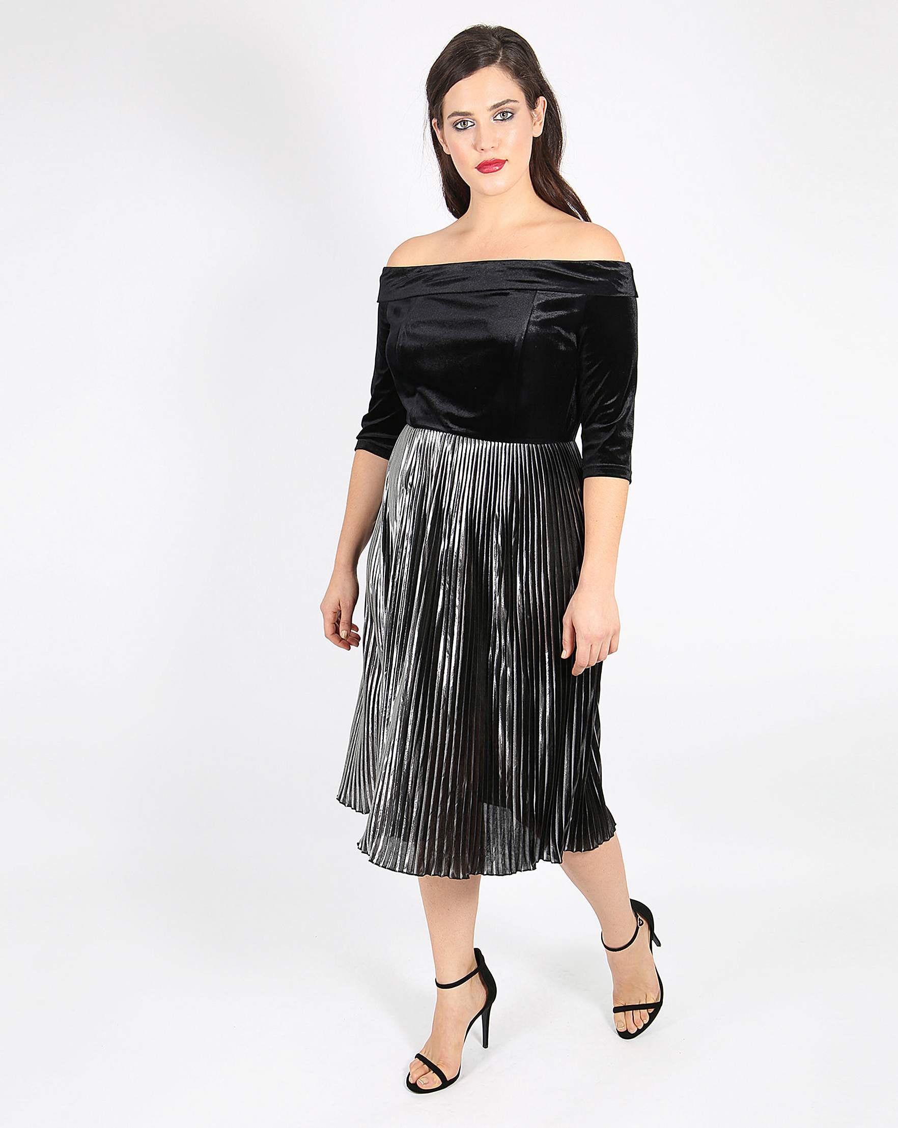 Womens plus size fashion from sizes 12 to 32 simply be lovedrobe velvet bardot dress ombrellifo Images