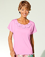 Flower Trim Jersey Top