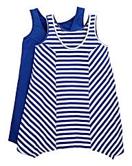 Pack Of 2 Shaped Hem Vests - Stripe