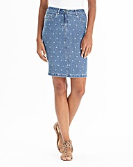 Spot Print Denim Pencil Skirt