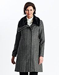 Herringbone Coat With Fur Trim