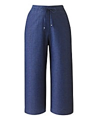 Plain Linen Mix Crop Trousers 19in
