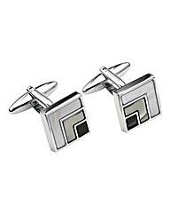 &City Geo Square Silver Cufflinks
