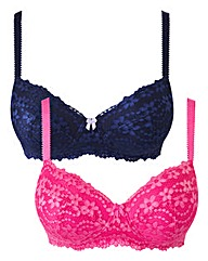 Shapely Figures Pink Navy Bra Pack