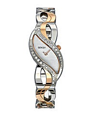 Seksy Two-Tone Curve Bracelet Watch