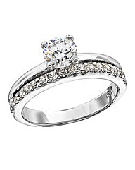 Silver Cubic Zirconia Double Row Ring