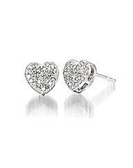 9ct White Gold Diamond-Set Earrings