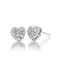 9ct White Gold Diamond-Set Earrings