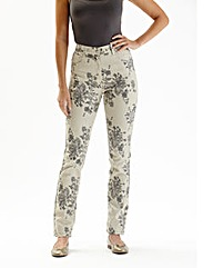 Printed Straight Leg Jeans 29in