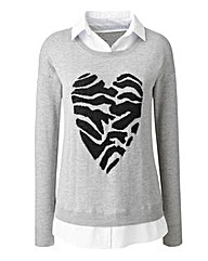 Heart Print 2 in 1 Jumper