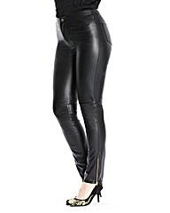 Petite PU Zip Detail Trousers