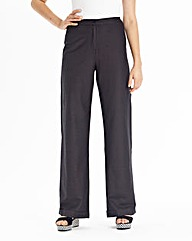 Wide Leg Linen Mix Trousers Long