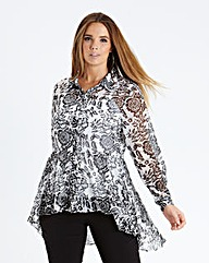 Dipped Back Peplum Blouse - Black Floral