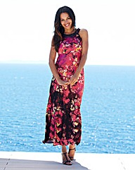 Joanna Hope Jewel Trim Print Maxi Dress