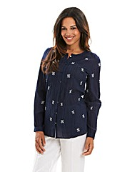 Joanna Hope Embroidered Crinkle Blouse