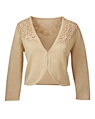 Joanna Hope Crochet Trim Knitted Shrug