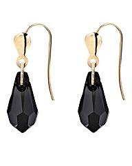 9ct Gold Crystal Drop Earrings