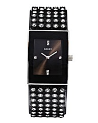 Seksy Ladies Black Glitzy Strap Watch