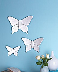 Set of 3 Butterfly Shaped Wall Mirrors