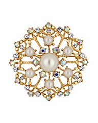 Mood Pearl and Crystal Brooch