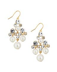 Mood Pearl Crystal Chandelier Earring