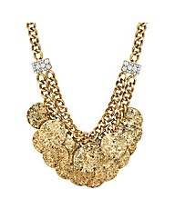 Mood Textured Coin Cluster Drop Necklace