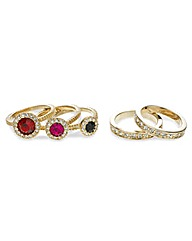 Mood Multi Stone and Crystal Rings Set