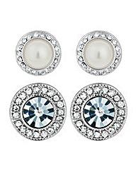 Mood Round Pearl Crystal Stud Earrings