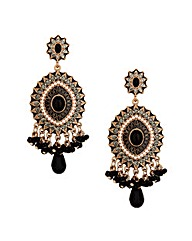 Mood Black Bead Tassel Drop Earring