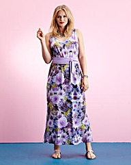 Edit Printed Maxi Dress with Belt