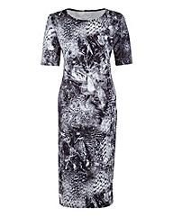 Edit Mono Scuba Print Dress