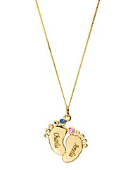 Personalised Gold Baby Feet Pendant